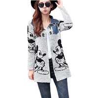 New arrival  gray lovely cartoon mouse print fashion thick round collar long cardigan women sweaters dress winter knit jackets