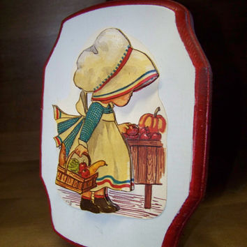 Vintage 1986 Holly Hobbie 3D Decoupaged Plaque...Textured...Puffy...Wall Art... Fall colors...Apple Gathering