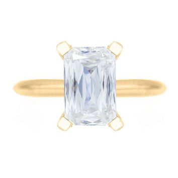 **NEW Criss Cut Heirloom FAB Moissanite 4 Prongs FANCY Solitaire Ring