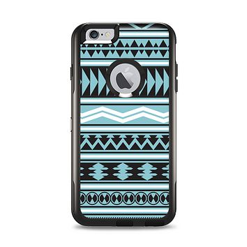 The Vector Blue & Black Aztec Pattern V2 Apple iPhone 6 Plus Otterbox Commuter Case Skin Set