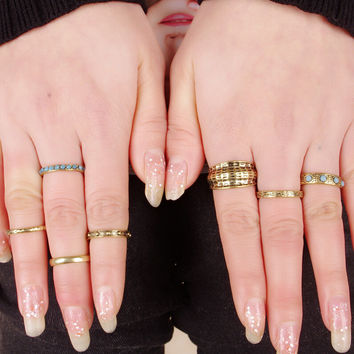 Vintage Retro Ethnic Style Old Gold Ring 7 Pcs Gift-177