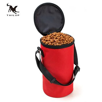 TAILUP New Collapsible Dog Travel Bowl High Quality Pet Hamster Dry Food Container Waterproof Bag