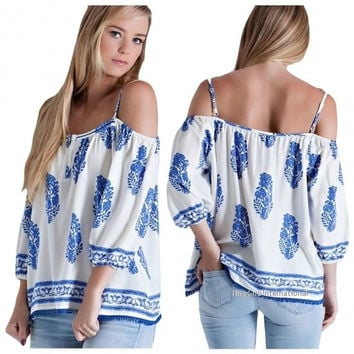 Ladies Women Fashion Off-Shoulder 3/4 Sleeve Strap Printed Loose Casual Leisure Tops Blouse = 1838547460