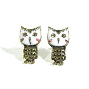 Snowy White Owl Earrings Antique Vintage Gold Tone EE20 Bird Animal Retro Mod Post Studs Fashion Jewelry