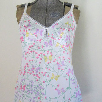 Mod Butterfly Floral Mini Full Slip Lingerie Baby Doll Nightgown Vintage 1960s Olga