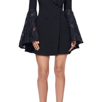 Picture This Black Lace Long Flare Sleeve Cross Wrap Double Breasted Button Blazer Jacket