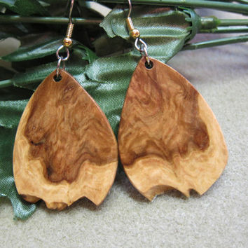 Raw Edge Exotic Wood Earrings, Corrugata Burl, handmade ExoticWoodJewelryAnd ecofriendly earthy