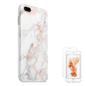 DCK4S2 iPhone 8 Plus Case iPhone 7 Plus Case (5.5') uCOLOR Rose Gold Marble Ultra Slim Hard Shell Soft TPU Dual Layer Protective Case for iPhone 7 Plus/8 Plus with Slim Tempered Glass Screen Protector