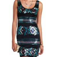 Sequin Tribal Sleeveless Bodycon Dress - Teal Combo