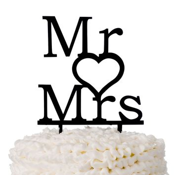 Mr & Mrs Acrylic Wedding Cake Topper - Modern Heart