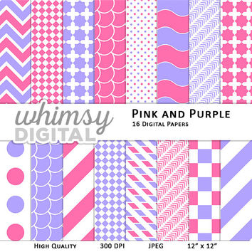 Pink and Purple Digital Paper with Stripes, Waves, Chevron, Polka Dots, Scallops, Checkers, and Arrows in shades of Pink, Purple, and White
