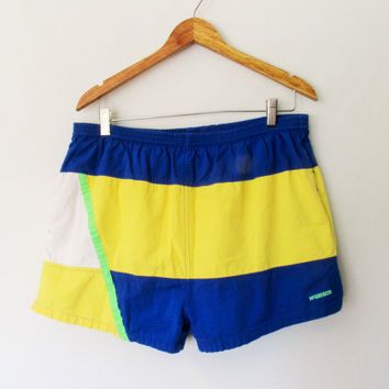 Vintage Mens Colorblock Swim Trunks