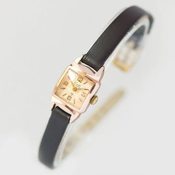 Art deco style women's watch Glory square wristwatch gold shade gift jewelry, sunburst ornament face watch rare, new premium leather strap