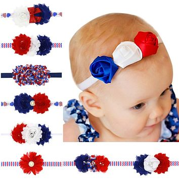 Naturalwell American Flag Headband Toddler Headbands USA Hair Band Bandeau July 4th Fashion Accessory Baby Girl Hairbow HB534