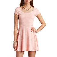 TEXTURED CAP SLEEVE SKATER DRESS