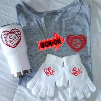 Valentine gift set, includes Powder coat RTIC, Monogram gloves, DIY Pocket Iron on, Heart monogram, gift for her