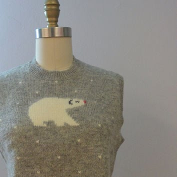 Vintage Gray Polar Bear Wool Sweater Vest by Robert Scott LTD, Winter, Holiday