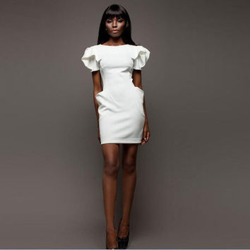 Sexy Fashion Women Pencil Dress Casual Puff Sleeve Slim Bodycon Office Dress OL Style Women Work Party Mini Dresses With Pockets