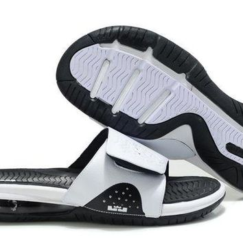 Nike Air LeBron Slide White/Black Casual Sandals Slipper Shoes Size US 7-11