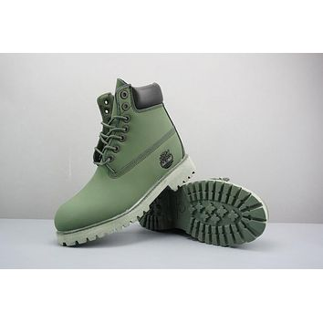 Timberland Leather Lace-Up Boot High Green Black