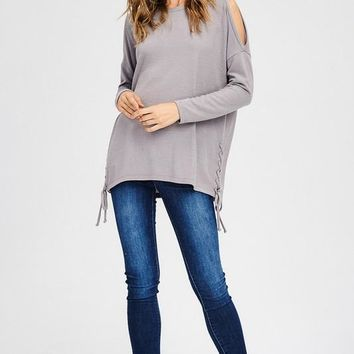 Brushed Knit Cold Shoulder Long Sleeve Top With Lace-Up Detail