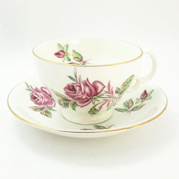 Adderley bone china tea cup teacup saucer with red rose - England