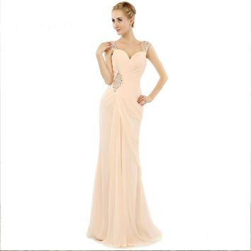 Beauty Chiffon Sweetheart Long Evening Dresses Spaghetti Strap Backless Floor Length Evening Gowns