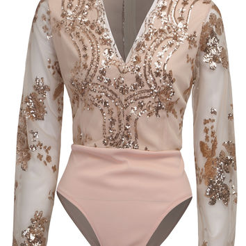 Pink V-neck Sequins Sheer Sleeve Bodysuit