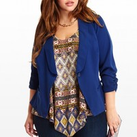 Plus Size Ruched Single-Button Blazer | Fashion To Figure