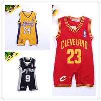 Retail Summer Style new jersey design baby romper basketball baby jumpsuit newborn kids clothes boys free shipping