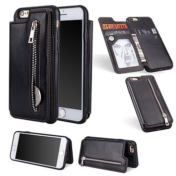 Luxury PU Leather Flip Zipper Case For iPhone 6 6s 7 8 Plus X XS 589926fa0aae