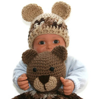 Baby afghan bear blankie blanket buddie newborn boy hat 0 -3 months photo prop Ready to ship