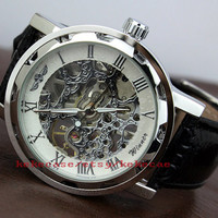 Mens watch, Steampunk Wrist Mechanical Watch, Leather Gold - Anniversary Gifts for Men.-T038
