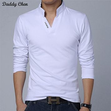 polo shirt long sleeve men cotton White black V Neck funny 2017 shirts brand slim fit extra big size top tees for mens 5XL red