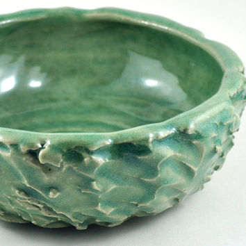 Ceramic Bowl for Salad and Fruit Textured Green Stoneware Unique Handmade Pottery Home Decor