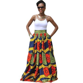 2017 Fashion Women African Print Long Skirt Ankara Dashiki High Waist A Line Maxi Long Umbrella Skirt Ladies Jupe Longue Femme