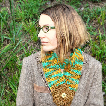 Crochet scarf, Merino wool scarf, teal and orange, button scarf, winter accessory, fall