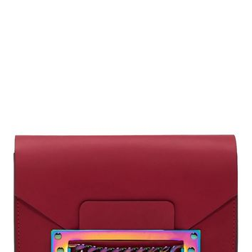 Sophie Hulme Raspberry Leather Iridescent Chain Envelope Bag