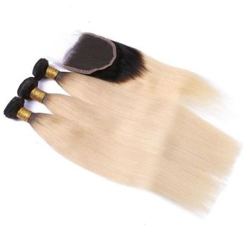 Ombre Brazilian Blonde  Straight Human Hair 3 Bundles With Lace Closure T1B/613