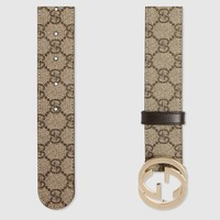 NEW GUCCI GG Supreme belt with G buckle - size 36/90; Rtl $400
