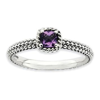 Sterling Silver Stackable Expressions Checker-Cut Amethyst Antiqued Ring