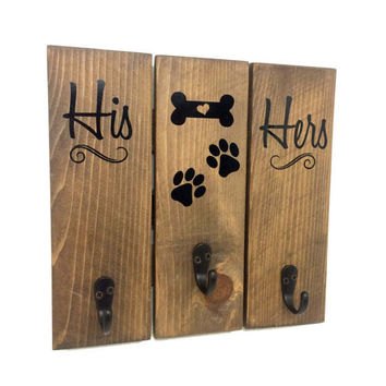 Key Rack - His Hers Puppy Key Chain Holder, Dog Decor, Wood Pallet Sign, Home Decor, Dog Sign, Leash Hanger, Gift for Dog Lovers