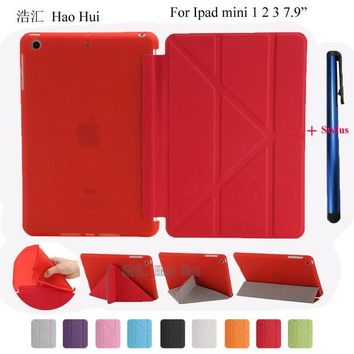 Ultra Slim Smart Cover PU Leather with Soft TPU Back Case For iPad Mini 1 2 3 Stand Design Full Protection + one stylus gift
