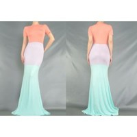 NEW Spring Pastel Colorblock Maxi Dress