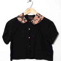 Motel Vintage Andy Collared Crop Blouse 0129 ONE SIZE