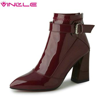 VINLLE 2018 Pointed Toe PU Patent Leather Women Shoes Zipper Square High Heel Ankle Boots Women Motorcycle Boot Size 34-43