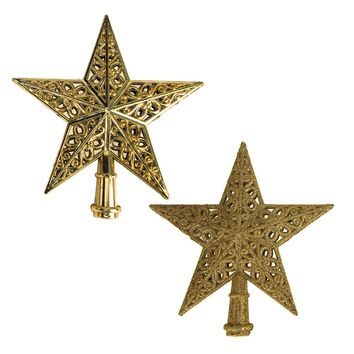 Glitter Star Plastic Christmas Tree Topper, Gold, 8-Inch, 2-Piece