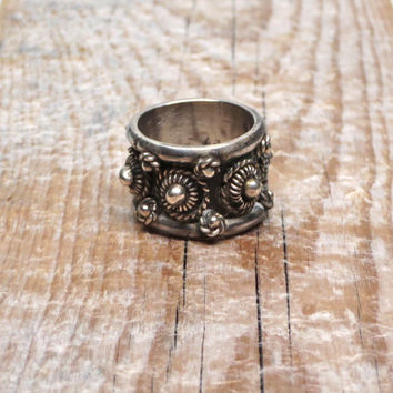 Vintage Silver Ring Wide Ornate Band Taxco Mexico Size 7