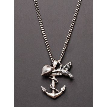 Anchor + Heart + Hummingbird necklace