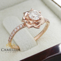 14K Rose Gold Diamond Engagement Ring 0.40ct Natural Diamond Rose Gold Flower Engagement Ring